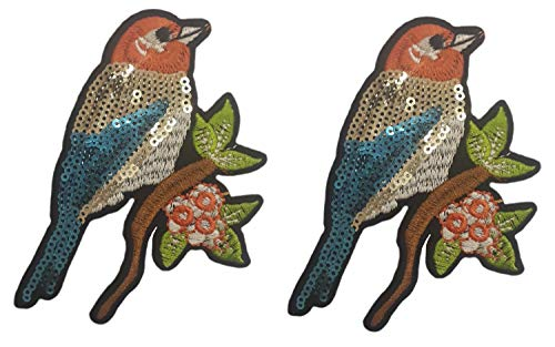 Bird Embroidered Iron - 2 pcs of Cute Sequin Birds Patches Sparrow Iron on Embroidered Appliques Patches