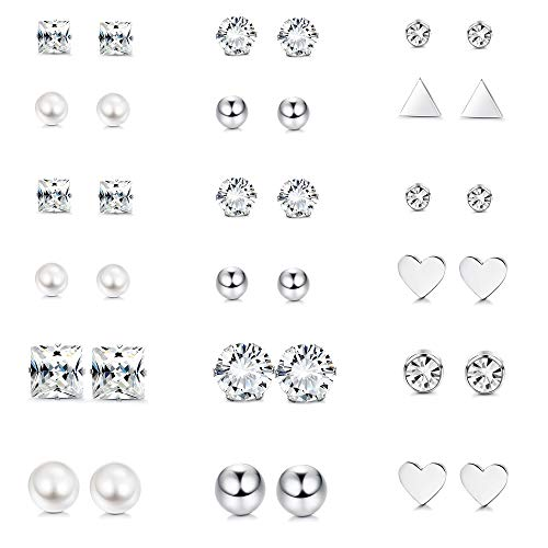 Thunaraz 18Pairs Surgical Steel Stud Earring Set Fake Pearl Earring Ball Triangle Heart CZ Earring Kit