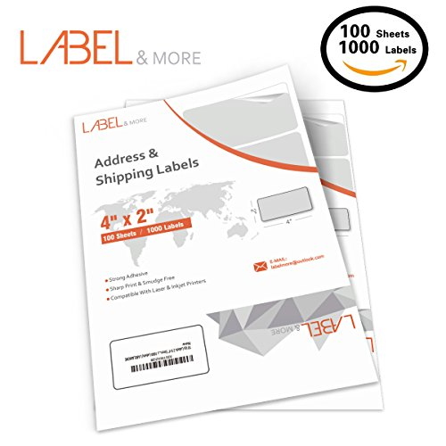 Business Mailing Labels - 2x4 Labels Compatible With Inkjet and Laser Printers 10 Up Labels 2x4 inch Shipping and Address White Mailing Labels Work for UPS USPS FEDEX FBA SKU[100 Sheets 1000 Labels] LABEL&MORE