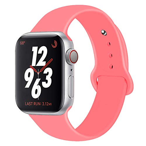 Chumei Sporty Band Compatible with Apple Watch, Soft Silicone Replacement Wristband Strap Band for iWatch Series 1 Series 2 Series 3 Series 4 (38MM/40MM S/M Red Raspberry)
