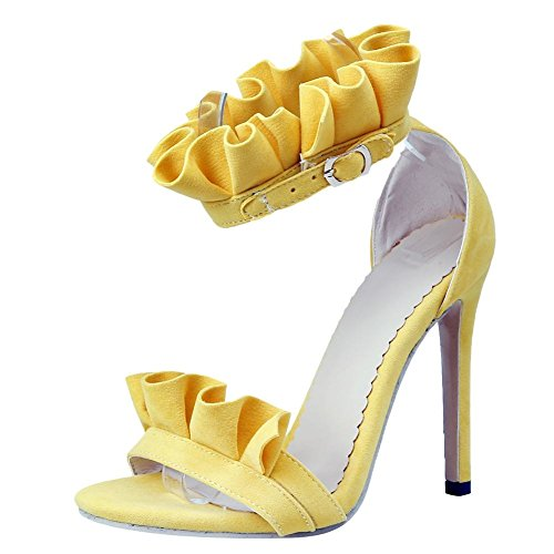 Carolbar Women's Sexy Lovely Lace Super High Heel Buckle Sandals Yellow LpID00