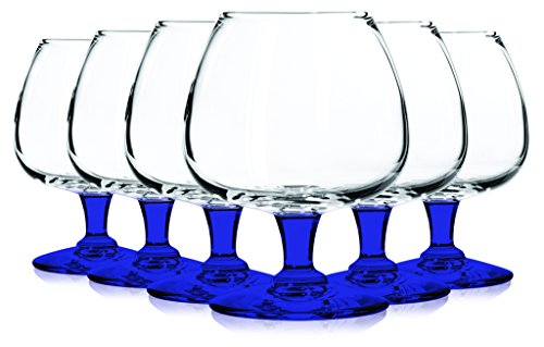 Libbey Citation Libbey 8402 Citation 6 oz. Brandy Glass Set of Six - Bottom Color Cobalt Blue - Additional Vibrant Colors Available by TableTop King