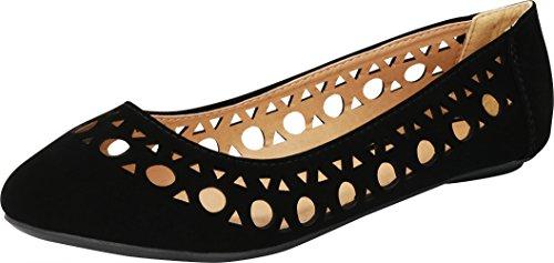 Cambridge Select Women's Closed Round Toe Geometric Cutout Slip-On Ballet Flat,9 B(M) US,Black NBPU ()