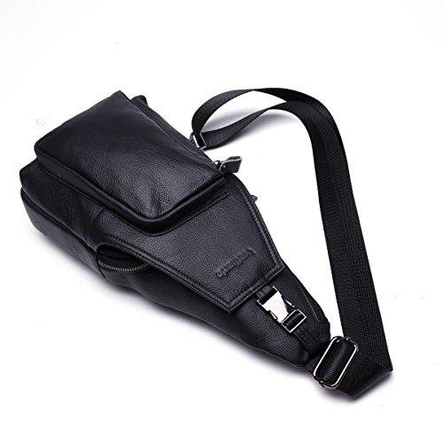 Leathario bolso bolsa mochila de pecho piel cuero para hombres bolso hombro con cuero compuesto para diario o trabajo. Negro
