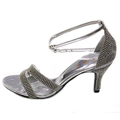 Femmes W Diamante Soirée Fashion Sandales amp; 4 Mariage Mesdames Mariée Taille W 5qgE6n