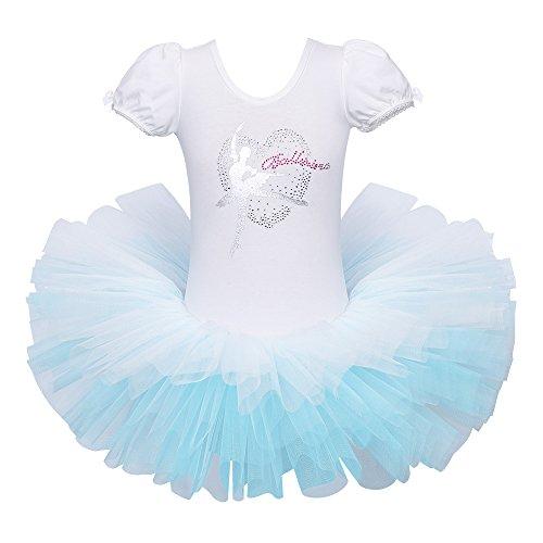 BAOHULU Leotard for Girls Ballet Dance Short Sleeve Full TulleTutu Skirted Dress Ballerina Costumes (4-5 Years(Tag No.L), White Ribbon Back) ()