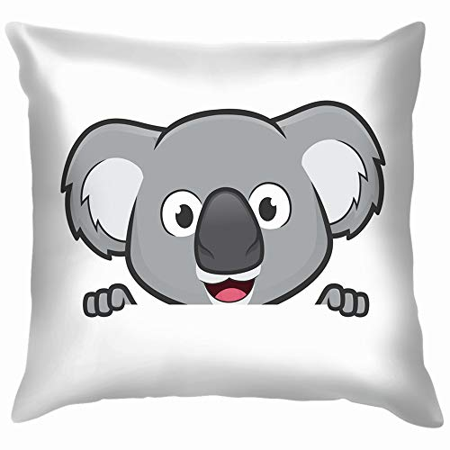 Koala Holding Looking Over Blank Sign Animals Wildlife Cotton Throw Pillow Case Cushion Cover Home Office Decorative, Square 26X26 Inch -