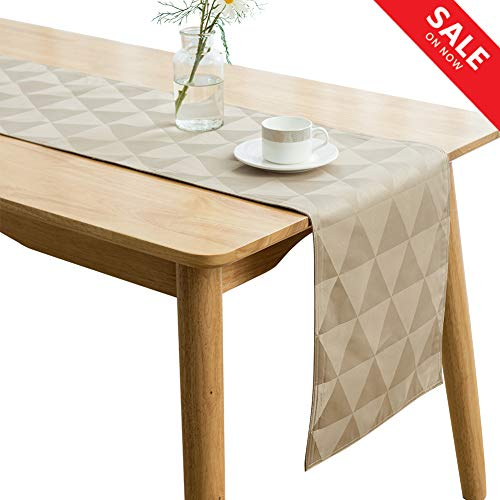 - SUNLOVO Table Runner,Geometric Triangle Pattern Dresser Scarf Heat Resistant Fabric Table Top Decoration for Dining Table Christmas Thanksgiving,Tan