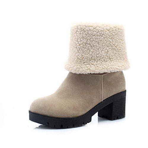 Allhqfashion Women's Kitten Heels Solid Round Closed Toe Frosted Pull-on Boots Beige JQSGBLPH