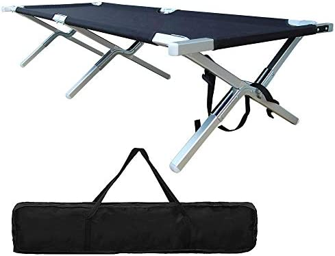 Folding Camping Cot – Portable Outdoor Camping Bed Heavy Duty Military Grade Aluminum Camping Cot Easy Set Up for Adults Holds Up to 450 Lbs Storage Bag