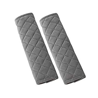 U&M 2pcs Seat Belt Covers, Soft Velvet Feel Car Belt Protector Shoulder Seatbelt Pad for Adults Youth Kids - Car, Truck, SUV, Airplane,Carmera Backpack Straps - by (Gray): Automotive