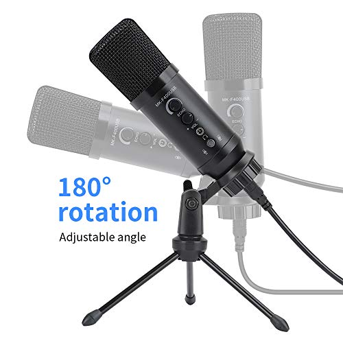 USB Microphone for Computer KKUYI Plug &Play Home USB Condenser Microphone for Skype, Recordings for YouTube, Google Voice Search, Gaming Mic (Windows/Mac)