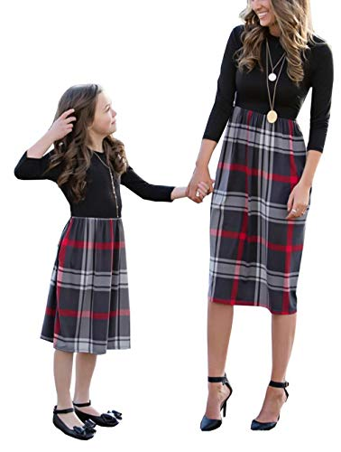 Family Matching Crew Neck Long Sleeve Plaid Dress Mommy and Me High Waist One Piece Stitching Mid-Length Dress with Pockets (Mom, L) ()
