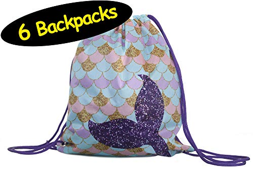 (Mermaid Party Favor Drawstring Backpacks Goodie Bags, 6-Pack, 12x14 inches)