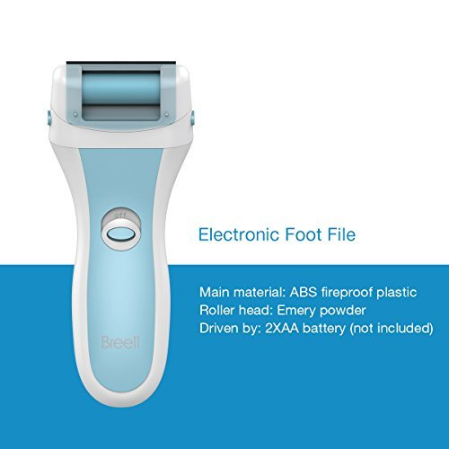 Electric Callus Remover - Breett High Speed Battery-Operated Perfect Foot File Removes Calluses and Hard,Cracked,Dead Skin,Professional Foot Spa Pedicure Tools with 2 Roller Heads -- Blue