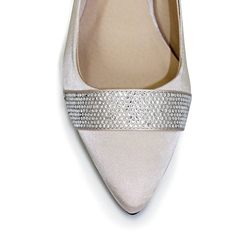 Para caballo FLV339 bolsa de pesado de Nude de flores saliendo de un diseño de zapato de cristales Beige - beige