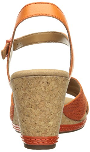 Clarks Womens Helio Latitude Wedge Sandal, Orange Leather, 7.5 M US