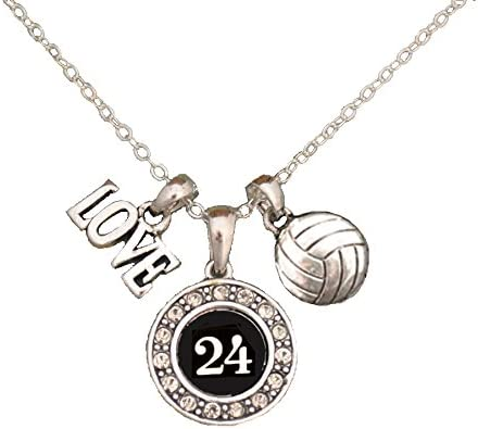 Custom Player Jersey ID Volleyball Necklace Available in 24 Numbers