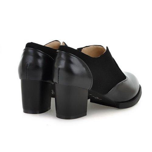 Amoonyfashion Kvinners Spisse Tå Lukket Tå Kitten Hæler Pumper-sko Med Gummisåler Og Plattformen Svart