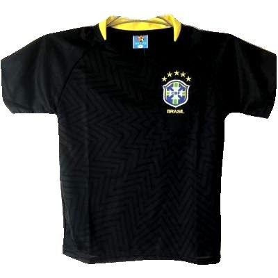 大宇宙承認する歩行者?代引可?子供用 K049 ブラジル 黒 19 ゲームシャツ パンツ付