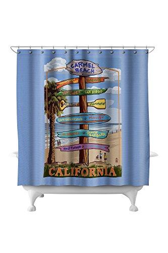 Carmel, California - Destination Signpost (71x74 Polyester Shower Curtain)
