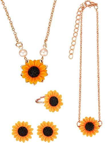 (5 Pieces Totally Sunflower Shape Necklace Drop Petal Pendant Necklace with Faux Pearl, Sunflower Bracelet Earrings Ring for Women Jewelry Accessories (Style Set 1, Rose Gold))