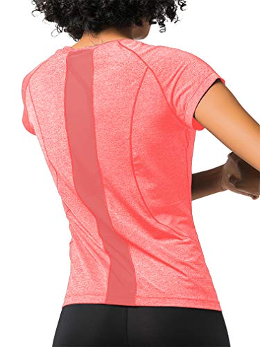 DIBAOLONG Women's Summer Workout Tops Short Sleeve Yoga Shirts Activewear Sexy Mesh Back Running Sport Casual Tee T-Shirt Pink S