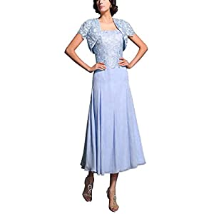b11adb7515112 Landress Women s Lace Long Mother of The Bride Dress with Jacket Formal  Evening Gowns Gown(12
