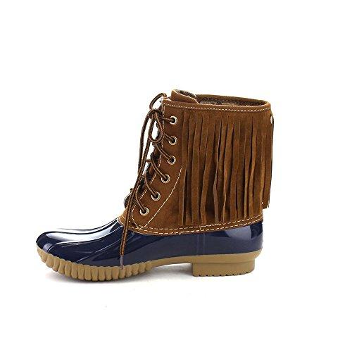 Beston Axny Dylan-86 Dames Two Tone Lace Up Fringe Enkel Regen Duck Boots One Size Small Navy