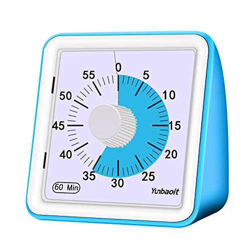 Yunbaoit Visual Analog Timer,Countdown Clock,No Loud Ticking,Time Management Tool for Kids and Adults(Blue) ()