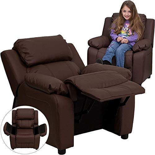Kids Leather Recliner with Cup Holder