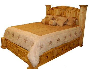 Rustic, Western,King Size Storage Bed