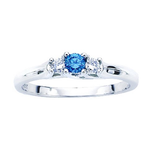 3 Diamond Anniversary Ring 1/4 ct. in 10K White Gold with Blue Center Diamond (Size-8)