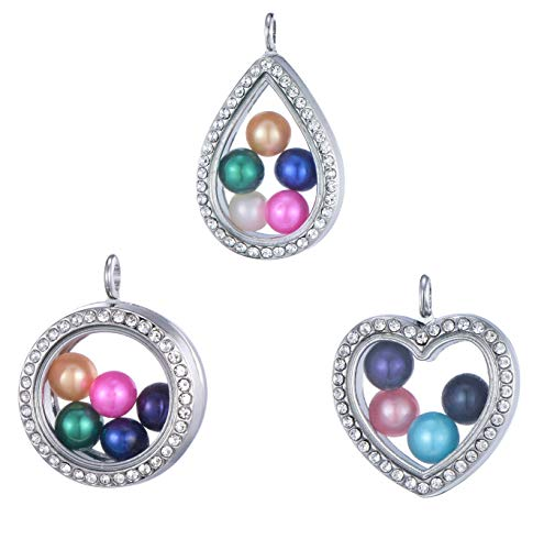 - 3pcs Heart Round Drops of Water Shape Stainless Steel Tone Alloy Glass Pearl Cage Charm Pendant Living Memory Floating Locket for DIY Jewelry Making (11614)