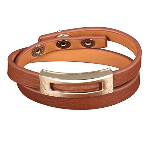 Brown Leather Double Wrap Bracelets Belt Buckle Bangles for Women Jewelry