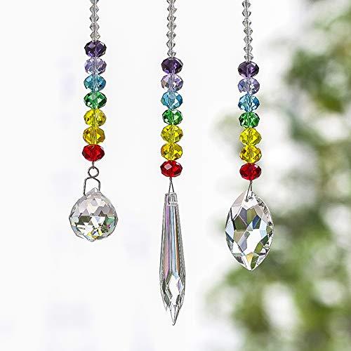 Valentine Suncatcher - H&D HYALINE & DORA Chandelier Crystals Prisms Rainbow Chakra Suncatcher with Beads Decorating Hanging Ornament,Set of 3