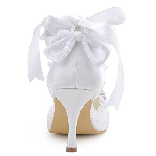 Elegantpark A3202 Women Peep Toe Bow Pearls Ankle Strap Stiletto Heel Ladies Wedding Shoes White EB5RLzV