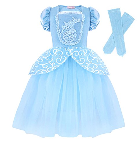 HenzWorld Girls Cinderella Princess Dress up Costume Halloween Outfits Puff Sleeve Blue Size 11-12 Years]()