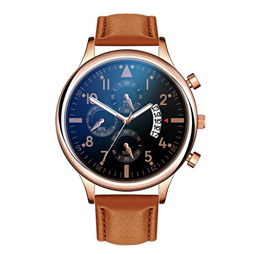 Meiliwanju Men's Luxury Watches Quartz Watch Stainless Steel Watch with Leather Band Business Chronograph Watch Date (Coffee)