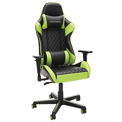 Respawn Racecar-Style Gaming Swivel Chair in Black/Green, Adjustable Armrests and Headrest, Seat Height Adjustment, SofThread Bonded Leather Upholstery and Angle Lock Reclining Features OFM