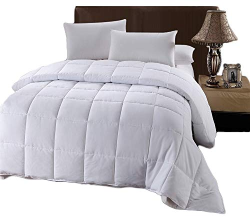 Royal Tradition Box Stitched All Season Medium Fill Weight, King-California King Down Alternative Comforter with Corner Tabs, White