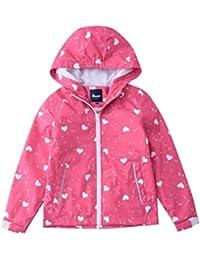 Hiheart Girls Lightweight Hooded Jackets Mesh Lined Waterproof Raincoat Rose 8/9