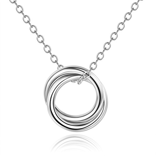 Mother Daughter Necklace,Double Circles Necklace Sterling Silver 925 Two-Circle Pendant Necklace,16+1