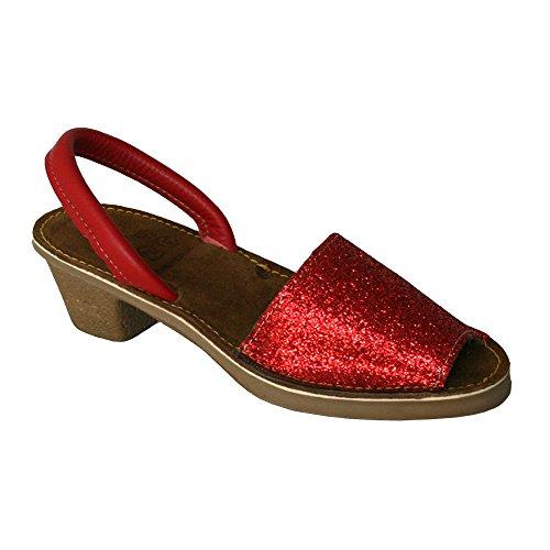 15010G - Sandalia ibicenca glitter con tacón rojo