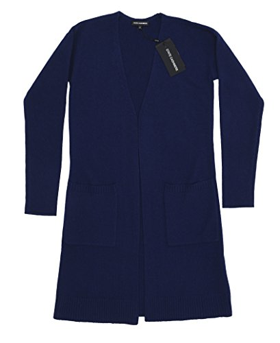 State Cashmere Women's 100% Pure Cashmere Open Front Long Cardigan, Navy, Large by State Cashmere (Image #5)