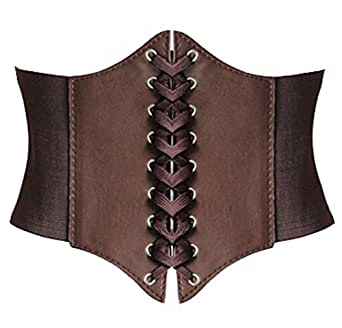 Alivila.Y Fashion Women's Faux Leather Underbust Waist Belt Corset A13-Coffee