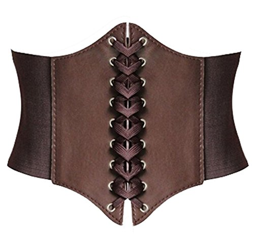 [Alivila.Y Fashion Faux Leather Underbust Waist Belt Corset A13-Coffee] (Brown Leather Corset)