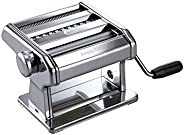 Marcato 8356 Atlas Ampia Pasta Machine, Made In Italy, Chrome Plated Steel, Silver, Includes Pasta Cutter, Han