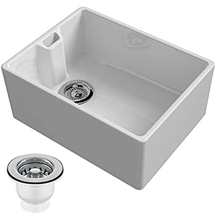 Reginox Belfast 600mm 1.0 Bowl Ceramic Kitchen Sink & Waste in White ...