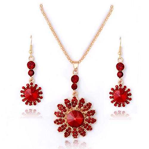 Monowi Fashion Crystal Jewelry Sets 18K Gold Plated Pendant Necklace Earrings Wedding | Model ERRNGS - 18297 |